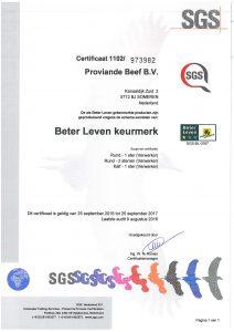 BLK- certificaat Proviande Beef B.V. Someren 25-9-2017